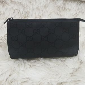 Gucci black canvas monogram cosmetics pouch